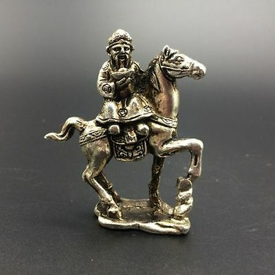 China Antiques Tibetan silver hand-carved The God of wealth & horse statue