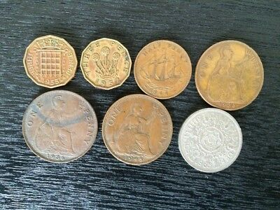 Lot of 7 UK Coins United Kingdom Penny Pence and Shilling Old Money 1935-1965