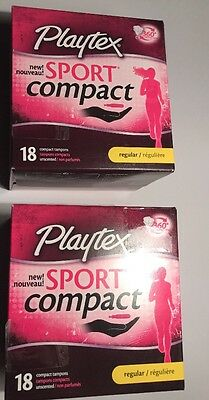 Lot of (2) NIB  Sealed 18ct Playtex Sport Compact Tampons Regular Unscented
