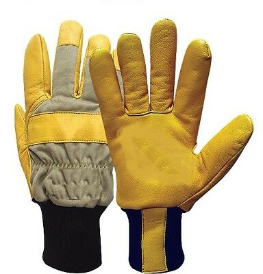 Cold Weather Leather Safety Gloves, Yellow, Size 8 Medium