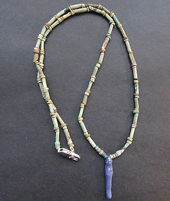 NILE  Ancient Egyptian Glass Thoth Amulet Mummy Bead Necklace ca 1000 BC