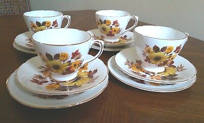 4 X Royal Sutherland Bone China Exc! Vintage Yellow Floral Cups Saucers Plates