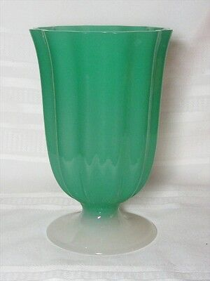 Steuben, Jade Green And Alabaster, Vertical Blown Out Ribbing Footed Vase~~