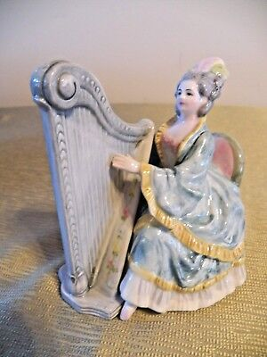 Schmid Musical Collectible Figurine, Victorian, Colonial Lady & Harp, Tenderly