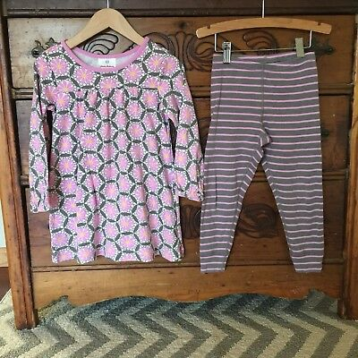 Girls Hanna Andersson Size 100 4 4T Print Dress & Leggings Set Outfit EEUC!