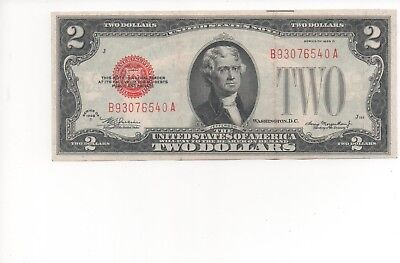 1928 Series $2 Two Dollar Red Seal Note Bill US Currency F-XF