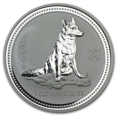 2006 Australian Lunar Series I - Dog One Ounce .999 Fine Silver in Capsule