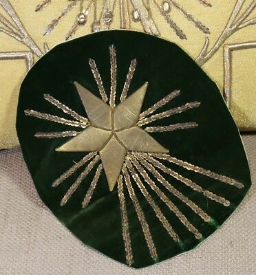 Antique French Empire Star Burst Applique Gold Metallic Stumpwork Embroidery