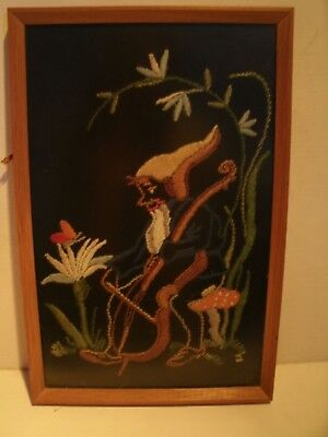VINTAGE PICTURES - FRAMED HAND EMBROIDERED GNOME PLAYING A CELLO - 20 x 30 CMS