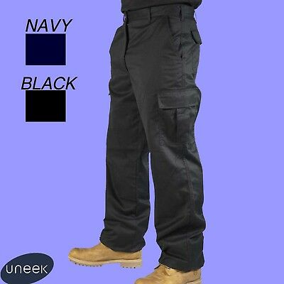 Mens Combat Cargo Work Trousers Black or Navy Size 28 to 52 Short Reg Tall Uc902