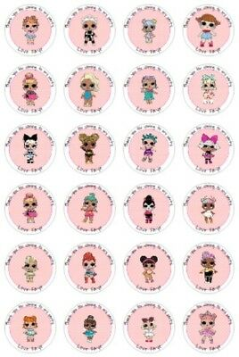 24 Personalised lol dolls, Birthday, Goody Bag Stickers Party Thank You