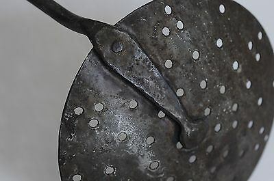 Antique Hand Forged Iron Skimmer, Punched Star Design on Bowl, Mid 1800s