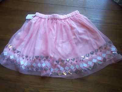 Cherokee Size M(7/8) Peach A-Line Skirt Elacstic Waist Silver White Pink New Tag