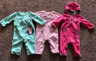 Carter's Infant Baby Girls 6 Months Lot of 3 Footless Fleece Sleepers Pajamas