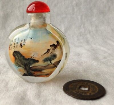 Reverse-Painted Vtg Chinese Snuff Bottle SIGNED Night Time Landscape Moon 2""