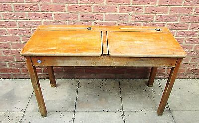 Double School Desk old & original wooden with lifting lids, well used, vintage