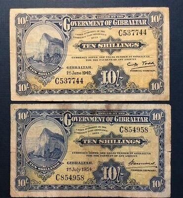 GOVERNMENT GIBRALTAR 10 SHILLINGS 1954 and 1942, TWO VF BANKNOTES NO RESERVE!!