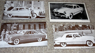 Four 1949 Ford Postcards Fordor & Tudor Sedan & Coupe (brochure catalog)