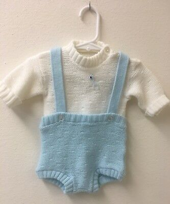 Precious Baby Boy's Vintage Outfit Romper Overalls Set Appx 6 Months