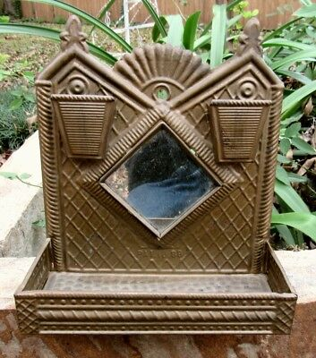 Vintage Antique Tin Fireplace Hearth Double Match Holder With Mirror and Shelf