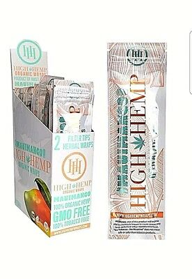 High Hemp Organic Wrap 25 Pouch in Full Box 2 in a Pouch 50 Wraps (MAUI MANGO)