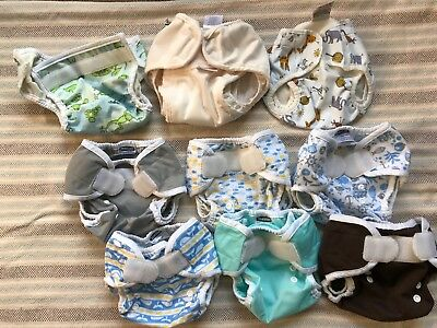 Lot of 6 Size One Thirsties velcro closure cloth diaper covers , 2 Imse Vimse +1