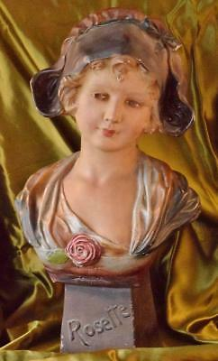 Superb Large Antique French Plaster Bust, Young Maiden Rosette, C1900 - B911