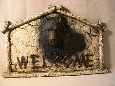 **welcome** Black Bear Heavy Resin Wall Hanging / Plaque