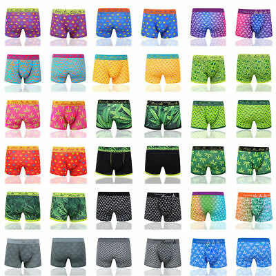 6,12 Pack Men's Boxer Shorts Cannabis Leaf Underpants Trunks Underwear S-XL lot