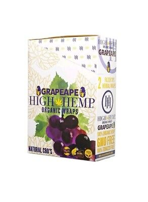 High Hemp Organic Wrap 25 Pouch in Full Box 2 in a Pouch 50 Wraps (GRAPE APE)