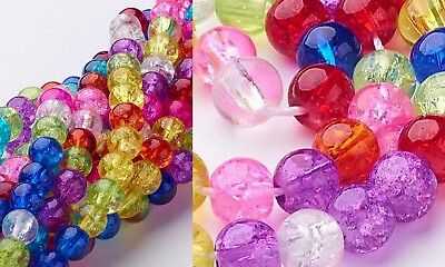 HOT Crackle Glass Mixed Colors 6mm Round Beads Beading Jewelry Making Supplies