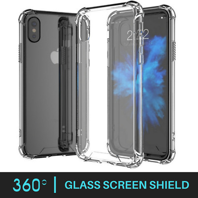 Shockproof 360° Silicone Protective Clear Case Cover For iPhone X 8 7 6s 6+