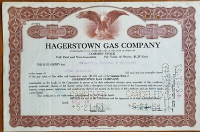 Hagerstown Gas Company Stock Certificates