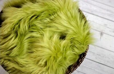 "Faux Fur 18""x20"" Olive photo Prop very soft Blanket Newborn Photography!!"