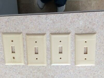 Lot of 4 Vintage Leviton Ribbed Ivory Bakelite Switch Plate Cover Art Deco