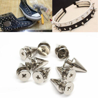 100Pcs 7x10mm Silver Metal Studs Rivet Bullet Spike Cone Screw For Leather Craft