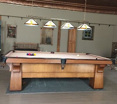 Brunswick Balke Collender Antique Quartersawn Oak Pool Table 9' Early 1900's