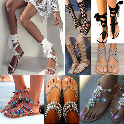 95ff77b104bc3 Tie Up Sandals Ladies Slingback Flat Peep Toe Strap Beach Ribbon Ankle Lace  Up