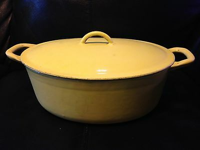 Descoware Enamelware Cast Iron 12 3-C 4.5 qt Canary Yellow oval Dutch Oven