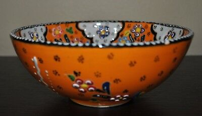"""NEW Decorated Pottery BOWL FLORAL Orange Cobalt 6.4"""" TURKEY Hand made"""