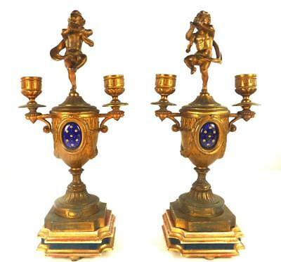 N201 Pair Antique French Spelter Candelabra Side Vases Enamel Plaque Giltwood