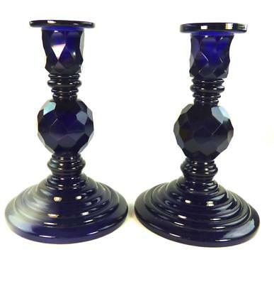 Impressive Pair Antique Cobalt Blue Bohemian Cut Glass Candlesticks Bristol