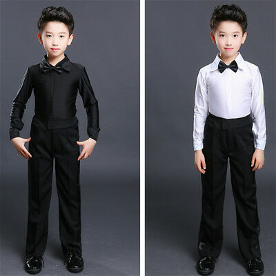 Boy Dance Shirt Ballroom Modern Samba Smooth Latin Tango Costume Top Slim Blouse
