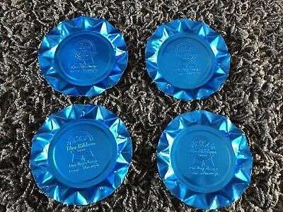 """PABST BLUE RIBBON BEER ASHTRAY SET OF 4 ALUMINUM """"Quality Always Comes Through"""""""