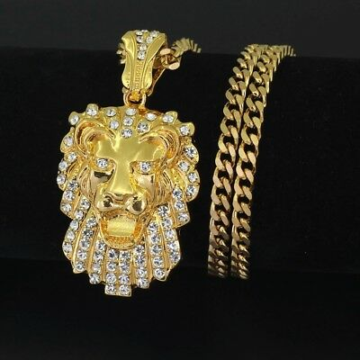 """14k Gold Lion Iced Out King Pendant Necklace 24/"""" Rope Chain Boss Pharaoh Hip Hop"""