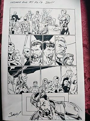 SPIDER-MAN IRONMAN +10 more! ULTIMATE END #1 pg19 ORIGINAL Mark Bagley COMIC ART