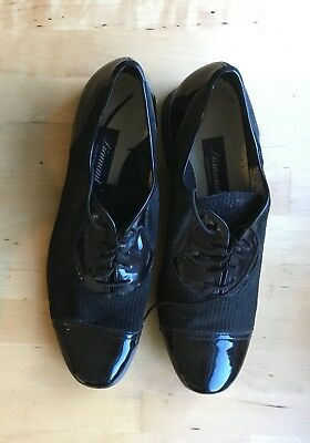 New Diamant German ballroom dance shoes size 12, leather suede pinstripe Swing!