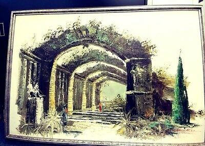 Vintage Oil On Canvas Painting Ancient Building Roman Or Greek?Green Tones 36X24