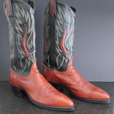 VTG Women's DAN POST Brown Leather COWBOY WESTERN BOOTS Sz 7.5 M Medium Pull-On