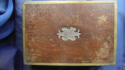 Antique wood box with brass edges and handles, for restoration or spares